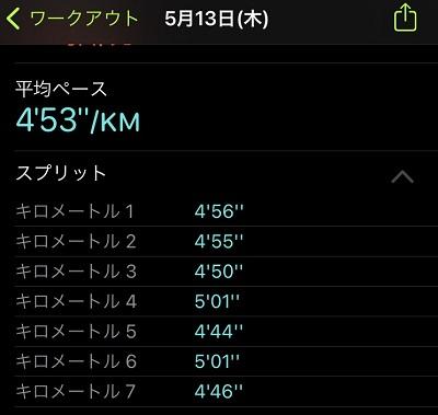 ペース走7キロ結果