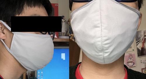 セリアマスクフレームを装着した時の画像